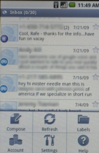 Google Voice, shown here running on Android, was in fact rejected from the App Store, Google said Friday. (Credit: Screenshot by Rafe Needleman/CNET)