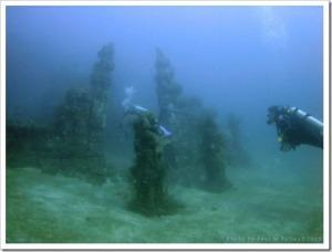 Diving in Underwater Temple