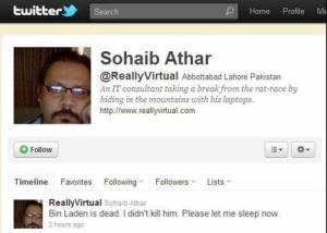 Sohaib Athar at twitter